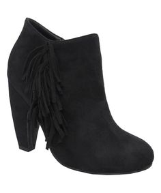 Look at this Black Tuner Fringe Bootie on #zulily today!