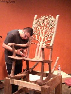 Gorgeous rocking chair for front porch carved out of one piece of wood