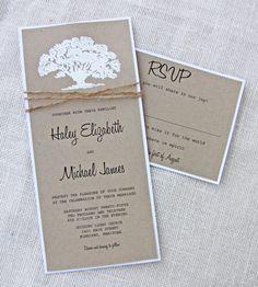 Oak Tree Wedding Invitation , Rustic Wedding Invitation, Burlap ...