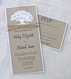 Rustic Wedding Invitations Set Oak Tree Country Wedding Invitation ...