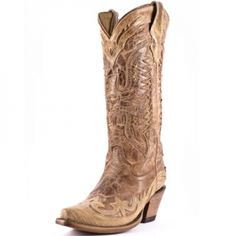 Ladies Crackled Distressed Cognac Saddle Boot by Corral Boots