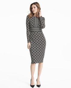 Mixed Diamond Print Sheath Dress - WHBM