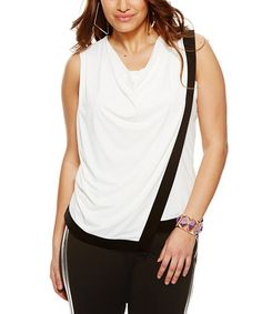 Another great find on #zulily! White & Black Asymmetrical Drape Top - Plus by MYNT 1792 #zulilyfinds