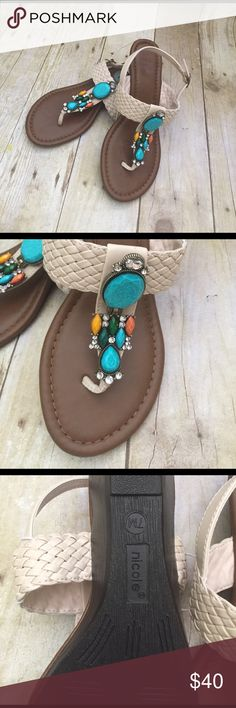 NICOLE beaded sandals NWT size 7 Get ready for spring NICOLE beaded sandals size 7 NWT nicole Shoes Sandals