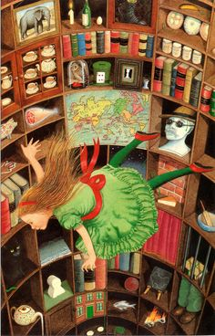 """Illustrator Anthony Browne: """"This is one of the last pictures I painted for the book. I'd avoided illustrating this scene as it's described so fully in words. When I made a rough preliminary drawing I drew Alice as she was going to be, and I drew the shelves - but I didn't know what was going to be on them. As I painted the finished artwork, I started at the top and meandered down, like Alice and that green thread, putting in almost anything that came into my head even though it may have…"""