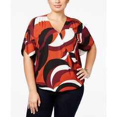 Inc International Concepts Plus Size Printed Surplice Blouse, ($60) ❤ liked on Polyvore featuring tops, blouses, sky swirl, womens plus tops, surplice blouse, women's plus size tops, butterfly sleeve blouse and red top