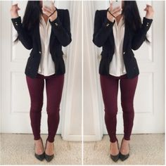 Dare to try a pair of leggings different from black? Maroon is a good place to start. What do you think of this outfit? Something you could definitely wear in the workplace.  Shop similar leggings from My House of Chic on Amazon! Our top rated leggings come in multiple colors, and sizes. Check it out!