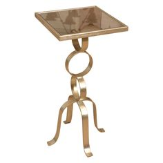 1stdibs | Silvered Metal Mirrored Top Occasional Table