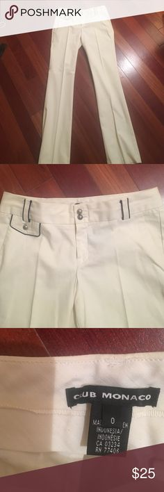 White pants with navy accents Just dry cleaned! White slacks for work or weekend Club Monaco Pants Boot Cut & Flare