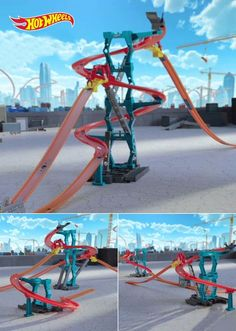 When he says he's  bored and he's  crawing the walls, save the day with the Hot Wheels Track Builder Spiral Stack-up. It lets him reach new heights while staying safely on the ground, plus there are tons of ways for him to stack his tracks .: