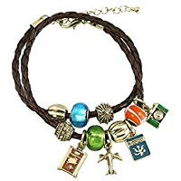 Travel Wrap Bracelet D4 Green Blue Orange Murano Beads Brown Black Leather Cord