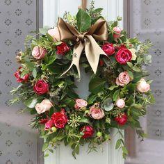 Wow. {Antique and Pink Rose Door Wreath}