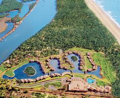 view from above of the leela kempinski hotel and resort in południowe, goa. Goa Wedding, Wedding Venues, Kempinski Hotel, Exotic Beaches, Best Wedding Planner, Wedding Planning, Goa India, Beach Holiday, Hotels And Resorts