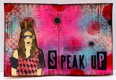 """I'm really drawn to the face stamps Dyan Reaveley and Dina Wakleyhave put out withRanger. This gal is from this set:Dyan Reaveley's Dylusions 8.5""""X7""""-Surrender. I love the XL size - she's as ..."""