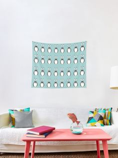 """""""Pingus"""" Tapestry by demonkourai Thing 1, Rabbit Ears, Egg Shape, Textile Prints, Tapestries, All Print, Wall Tapestry, Vivid Colors, It Is Finished"""