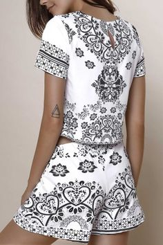 SHARE & Get it FREE | Stylish Round Neck Short Sleeve Crop Top + Porcelain…