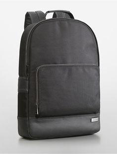 alec city tech slim backpack | Calvin Klein - faux leather trim.  Beautiful men's bag $119 on sale