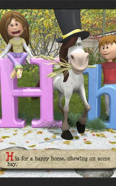 H is for a happy horse, chewing on some hay. With rhymes, silly images, and alliteration your kids are sure to remember their ABCs faster than ever before. Silly Images, Alliteration, Abcs, Kindergarten, Poems, Preschool, Horse, Learning, Kinder Garden