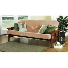 Better Homes Gardens Mission Wood Arm Futon Multiple Colors Com