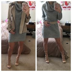 oversized sweater dress gray long sleeve loose turtle neck sweater dress. really cute and cozy for winter, just bought this and looks too big on me for my taste.                  new without tags. any marks in my pictures are from the mirror!  not from listed brand - I do this for exposure :) Missguided Dresses Long Sleeve