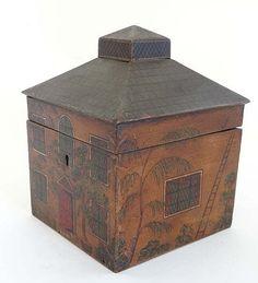 """House caddy : c. 1800 painted house Tea Caddy.  5 3/4""""  h. X 4 1/2 x 4 1/2"""