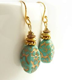 Turquoise Drop Earrings Gold Inlay Czech by RockStoneTreasures, $28.00