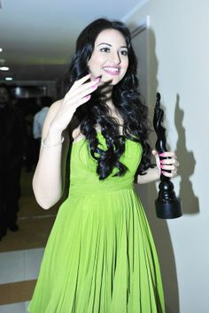 Sonakshi Sinha seen moments after she picked up the Filmfare award for best female debut in 2011.