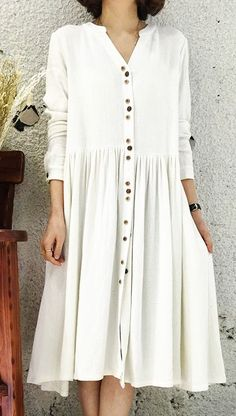 cool White Linen dress for summer designed in 2016... by http://www.dezdemonfashiontrends.top/new-fashion-trends/white-linen-dress-for-summer-designed-in-2016/