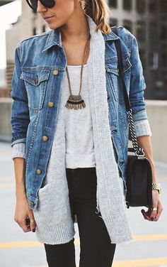 #fall #outfits / gray knit + denim