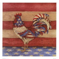 Backyard Chicken Product: Wall Art - Patriotic Rooster Poster - from My Pet Chicken Rooster Painting, Rooster Art, Rooster Decor, Tole Painting, My Pet Chicken, Chicken Art, Chickens And Roosters, Pet Chickens, Jessie Willcox Smith