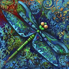 """""""Dragonfly"""" hand painted by Laura Zollar. All rights reserved."""