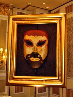 Giant Venetian masquerade mask inside a golden inflatable frame. Perfect for a Venetian-themed event.http://www.theig.com