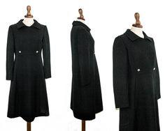 Sixties black dress / vintage original 1960 a-line long sleeve dress / retro collar dress sartorial made by MyLoftVintage on Etsy