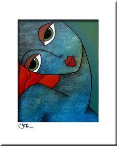 De beste in de originele abstracte kunst, popart, moderne kunst, sculptuur en moderne schilderijen. Grote schilderijen met heldere kleuren en vet lijnen die je glimlach. Artiest: Thomas C. Fedro Titel: Blauwe passie GROOTTE: 11 x 14 beeld, gematteerd naar 16 x 20 MEDIUM: Originele giclee, ondertekend op voorzijde ONDERSTEUNING: Premium Luster (glans afwerking) archivering papierkwaliteit Past in een standaard maat 16 x 20 frame (frame is niet inbegrepen) DATUM: Nieuw 2012 VERZENDING: ...