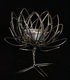 Wire Lotus Flower by WireWorkTommyHester on Etsy, $50.00