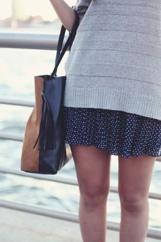 JennifHsieh | Colorblock Bag, Navy Polka Dotted Skirt