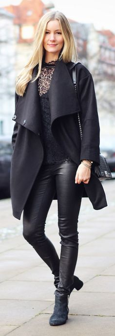 Passions For Fashion Black Drape Front Peacoat Black Lace Blouse Black Leather Jeans Fall Inspo