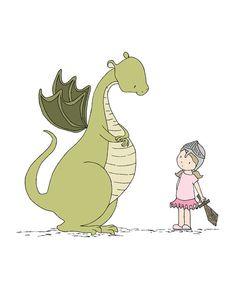 Dragon Nursery Art  Girl Meets Dragon  by SweetMelodyDesigns