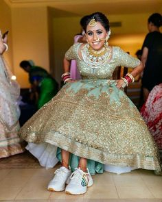 Footwear Options For Your Wedding Day! Bridal Looks, Bridal Style, Bridal Lehenga Images, Comfortable Bridal Shoes, Wedding Sneakers, Wedding Shoes, Wedding Attire, Wedding Dresses, Lehenga Designs