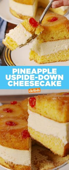Pineapple Upside-Down Cheesecake tastes exactly like the Cheesecake Factory's. Get the recipe at .This Pineapple Upside-Down Cheesecake tastes exactly like the Cheesecake Factory's. Get the recipe at . Just Desserts, Delicious Desserts, Yummy Food, Healthy Desserts, Vegetarian Cake, Pineapple Upside Down Cake, Cheesecake Recipes, Dessert Recipes, Simple Cheesecake