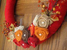14 Personalized  Fall Yarn Wreath  Fall Wreath by RockStarWreaths, $35.00 Fall Yarn Wreaths, Christmas Yarn Wreaths, Burlap Flower Wreaths, Valentine Day Wreaths, Thanksgiving Wreaths, Diy Wreath, Burlap Wreath, Wreath Fall, Wreath Ideas