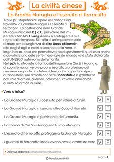 La grande muraglia cinese e l'esercito di terracotta Ancient China, Classroom, Education, School, 3, Montessori, English, Languages, Learning
