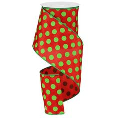 """Large Polka Dot Ribbon - Red/Lime Green (RG15913Y) - 4"""" x 10 yds 