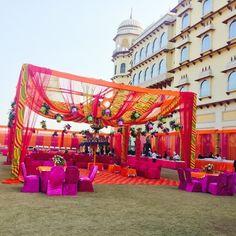 leheriya tents, rajasthani mehendi decor , orange and purple mehendi decor , leheriya decor