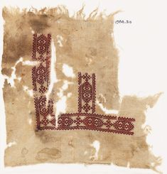 Textile fragment with cartouches and hooks