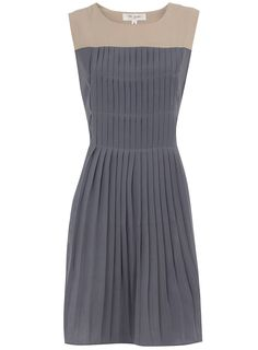 Grey pleat dress--perfect! with a navy or light grey suit coat