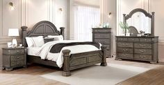 """FOA7144GY 4 pc Canora grey ortiz pamphilos elegant style antique grey finish wood queen bedroom set. This set features short posts style headboard and footboard with stylish detail . This set includes the Queen bed , one nightstand, Dresser, mirror. Additional pieces also available separately. Queen bed measures 93 3/4"""" x 67 5/8"""" x 68 1/2"""" H. Nightstand measures 28"""" x 17"""" x 29"""" H. Dresser measures 62"""" x 17"""" x 38 7/8"""" H. Mirror measures 49... Queen Bedroom, Queen Beds, Bedroom Sets, Dresser Mirror, Headboard And Footboard, Sofas, Elegant, Stylish, Grey"""