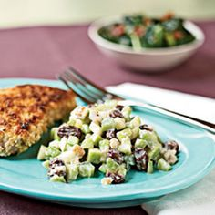 Lightened Waldorf Salad Recipe Salads with raisins, apple juice, chopped celery, granny smith apples, chopped walnuts, fat-free mayonnaise, yoghurt