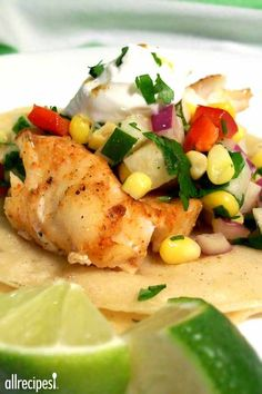 """Fiery Fish Tacos with Crunchy Corn Salsa 