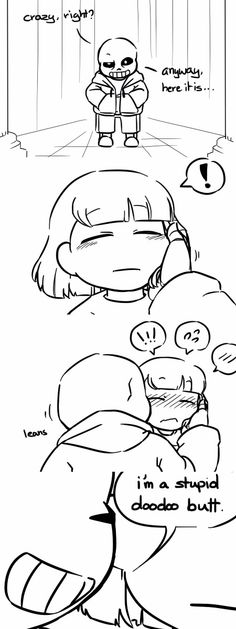 Sans and Frisk// yeah i don't think sans would whisper from across the room lol